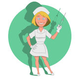 Nurse. With a syringe. Vector illustration. beautiful Royalty Free Stock Images
