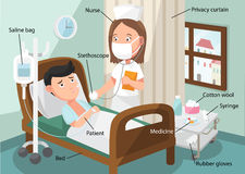 The nurse taking care of patient in the ward of hospital. With related vocabulary index illustration Stock Photos