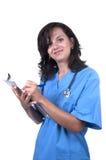 Nurse taking notes. On white background Stock Photos