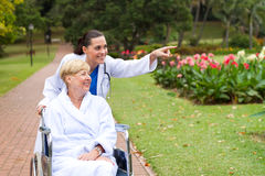 Nurse taking patient for a walk Royalty Free Stock Image