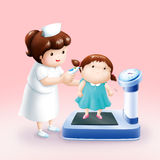 Nurse taking temperature little girl Royalty Free Stock Photo