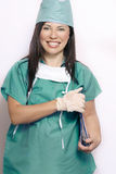 Nurse in teal hospital uniform Royalty Free Stock Images