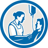 Nurse Tending Sick Patient Circle Retro Stock Photography
