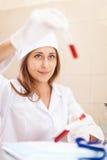 Nurse with test tube Royalty Free Stock Image