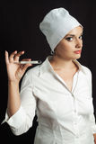 Nurse with thermometer Royalty Free Stock Image