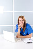 Nurse thinking in a modern office Royalty Free Stock Photo