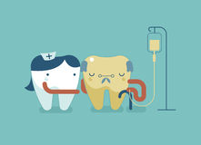 Nurse tooth is treating older tooth patient Stock Image