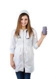 Nurse in uniform holding a phone Stock Photos