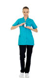 Nurse in uniform with hydrogen peroxide. Stock Image