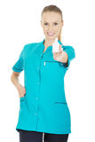Nurse in uniform with hydrogen peroxide. Stock Photography
