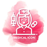 Nurse Vector icon. simple outline Black Icon on white background,  Illustration isolated for graphic and web design, International Stock Photography