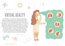 Nurse in virtual reality learning anatomy royalty free illustration