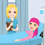 Nurse Visit Senior Woman. Nurse visit a senior old woman patient lying down on hospital bed receiving intravenous chemotherapy treatment for cancer Royalty Free Stock Images