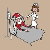 Nurse visits patient Santa cartoon Stock Image