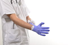 Nurse wearing gloves Stock Photo