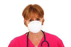 Nurse Wearing Mask. Nurse In Her 50's Wearing A Mask Stock Photos