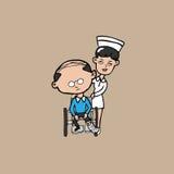 Nurse wheel chair old man Royalty Free Stock Photo