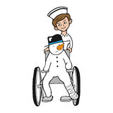 Nurse wheel chair snowman Royalty Free Stock Photography
