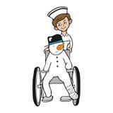 Nurse wheel chair snowman Royalty Free Stock Photography