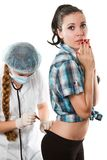 Nurse in a white coat makes the patient an injecti Stock Photo