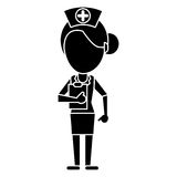 Nurse work hospital clipboard pictogram Royalty Free Stock Image