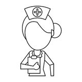 Nurse work hospital clipboard thin line Stock Images