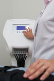 Nurse work with reflexology equipment Royalty Free Stock Photo
