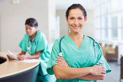 Nurse at work station Royalty Free Stock Photography