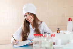 Nurse working in laboratory Stock Photos