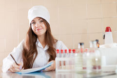 Nurse working in  laboratory Stock Photo
