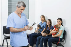 Nurse Writing On Clipboard While Owners Waiting With Pets. Mature male nurse writing on clipboard while female owners waiting with pets in clinic Stock Image
