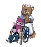 NurseBear with Patient in Wheelchair Stock Images