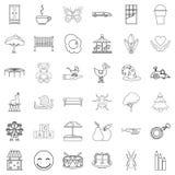 Nursemaid icons set, outline style. Nursemaid icons set. Outline set of 36 nursemaid vector icons for web isolated on white background Royalty Free Stock Photo