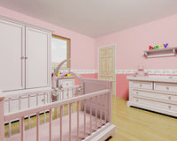 Nursery for baby girl. 3D render of a nursery for a baby girl Stock Images
