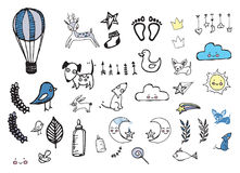 Nursery, baby illustrations. Illustrations, doodle baby, nursery theme Royalty Free Stock Images