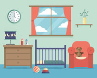 Nursery baby room interior with furniture in flat Stock Image