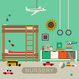 Nursery baby room interior. Royalty Free Stock Images