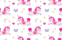 Nursery Baby Seamless Pattern with Fairy Unicorn, Bow, Pink Heart, Crescent Moon and Stars. Vector illustration Stock Images