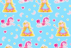 Nursery Baby Seamless Pattern with Little Fairy Princess, Magic Unicorn, Magic Wand, Pink Heart, Crescent Moon and Stars. Vector illustration Royalty Free Stock Photography