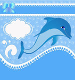 Nursery card of the announcement with dolphins Royalty Free Stock Photos