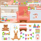 Nursery and childhood bedroom interior. Baby room with furniture bed and toy, teddy bear and rabbit. Flat style vector illustration isolated on white Stock Photos