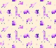 Illustration of geometric african animals in duplex. Nursery Childish Seamless Pattern Background with animals. Decorativ Style Trendy Textile, Wallpaper vector illustration