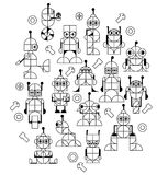 Decorative pattern of robots for kids. Nursery Childish Seamless Pattern Background with robots. Decorativ Style Trendy Textile, Wallpaper, Wrapping Paper, Kids stock illustration