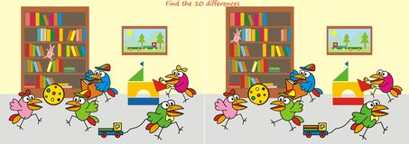Nursery, find the ten differences. Game for the kids Royalty Free Stock Image