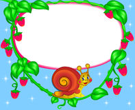 Nursery frame for photo snail with berry Royalty Free Stock Photos