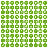 100 nursery icons hexagon green. 100 nursery icons set in green hexagon isolated vector illustration Stock Images