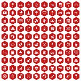 100 nursery icons hexagon red. 100 nursery icons set in red hexagon isolated vector illustration Stock Image