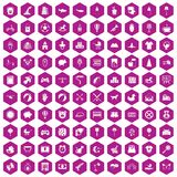 100 nursery icons hexagon violet. 100 nursery icons set in violet hexagon isolated vector illustration royalty free illustration