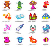 Nursery icons set. Vector color hand drawn icons with shadow Stock Photo