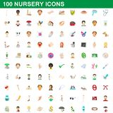 100 nursery icons set, cartoon style. 100 nursery icons set in cartoon style for any design illustration stock illustration